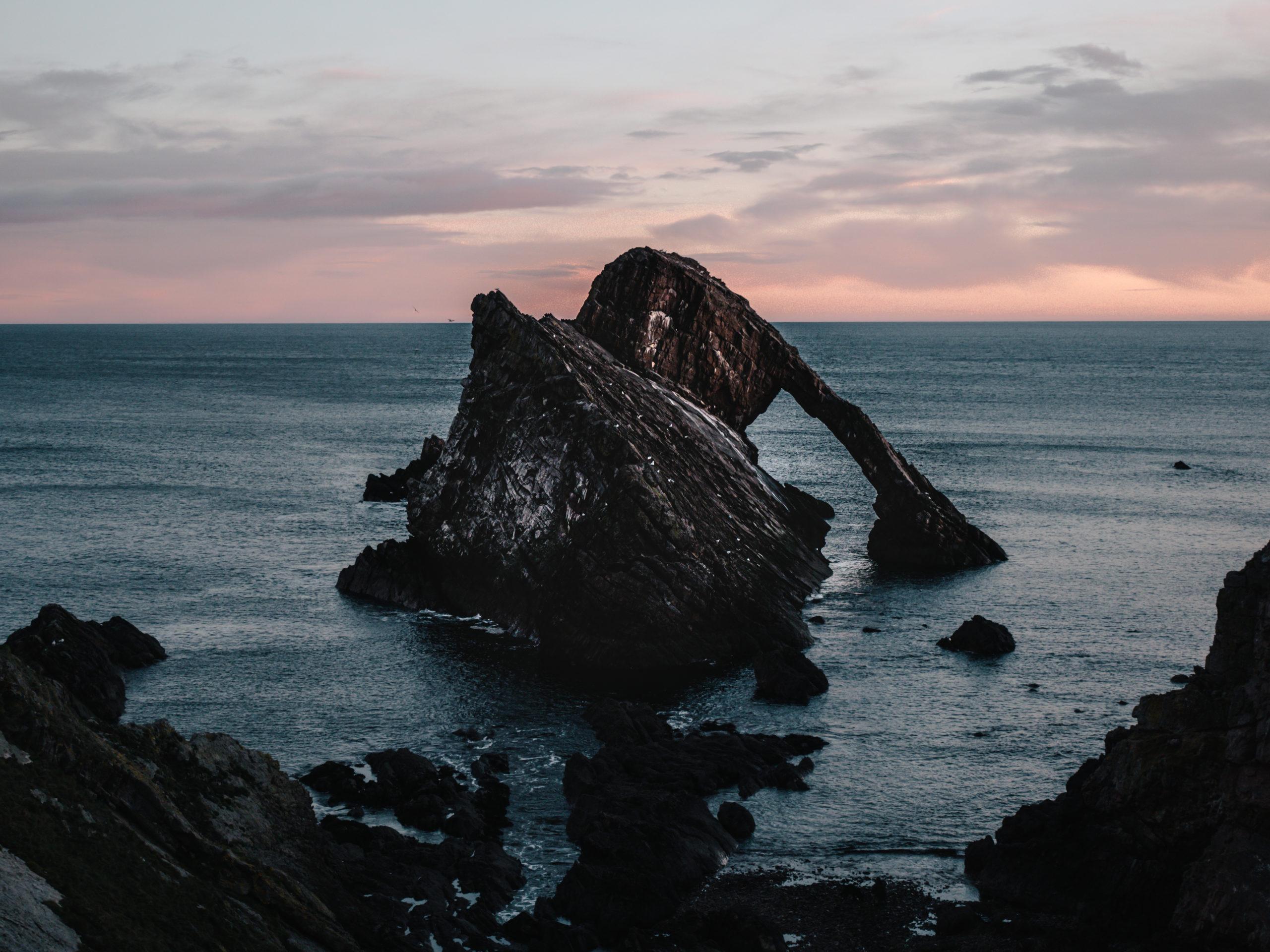 écosse highlands bow fiddle rock sea sunset