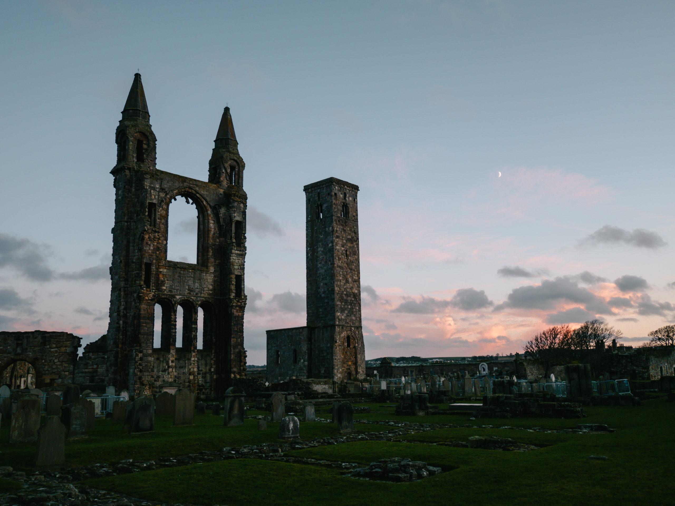 st andrews village scotland écosse catedral sunset